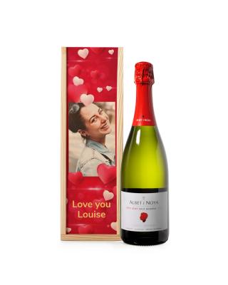 Bedrukte kist 'Love You' met fles Brut Reserva
