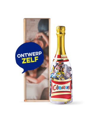 Bedrukte kist Eigen ontwerp met fles Celebrations