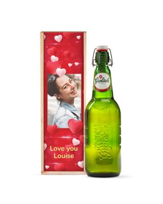 Bedrukte kist 'Love You' magnumfles Grolsch