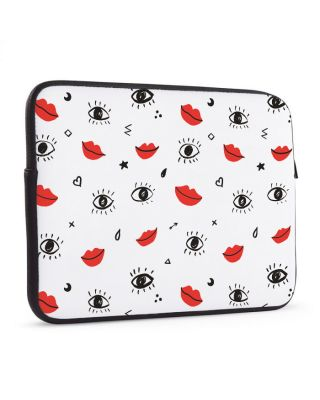 Laptop sleeve 17 inch Doodle red lips