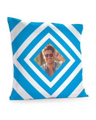 Kussensloop 40 x 40 cm 'Blue squares' met eigen foto