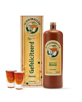Schrobbelèr 2L cadeaupakket Gefeliciteerd met 2 GRATIS shotglaasjes